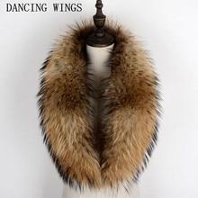 Натуральный мех енота воротник шарф для пальто съемный натуральный мех енота шарф для женщин натуральный мех воротник шеи Теплый