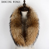 100% Genuine Raccoon Fur Collar Scarf For Coat Detachable Natural Raccoon Fur Scarf For Women Real Fur Collar Neck Warmer
