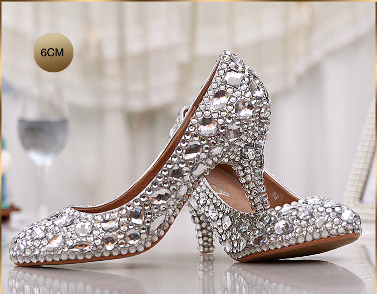 Wedding Heels With Rhinestones: Fashion Women's Crystal Rhinestone Shoes Platform Shoes