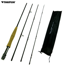 THKFISH 8ft 2.4M Fly Fishing Rod 4 Section #5~#6 Graphite Fly Fishing Rod 4-Piece Lightweight Portable Carbon Fiber Fishing Pole
