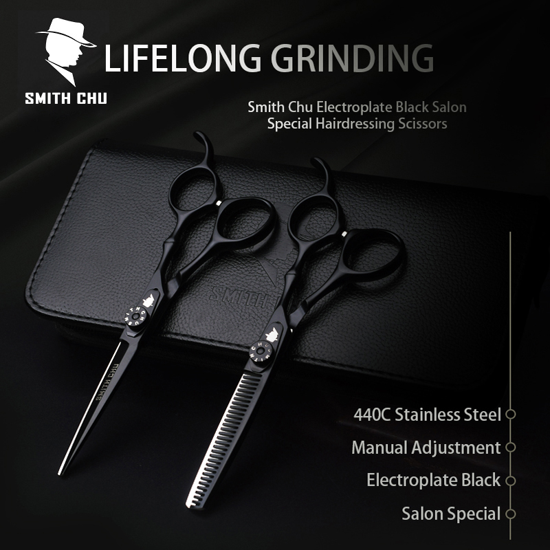 Smith Chu High Quality Cutting Scissors 6Inch 440C Stainless Steel Professional Salon Barbers Thinning Scissor Hair Scissors Set