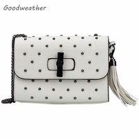 Designer White Leather Rivet Fringe Bags Fashion Small PU Chain Shoulder Bag Ladies Tassel Purses For