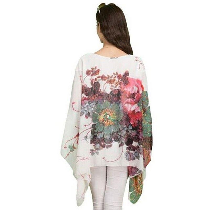 2017 New Women Shirts Blouses Lrregular Batwing Sleeve Printing Chiffon Blouse Shirt Oversized Summer Cloth for Women Blouse
