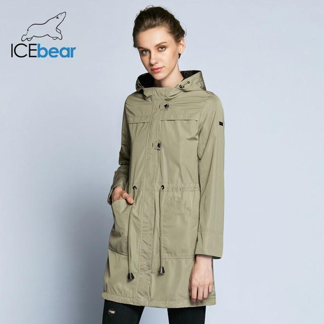 ICEbear 2019 модная женская ветровка новое весенное облегающее женское однотонное пальто со съёмным капюшоном B17G123D