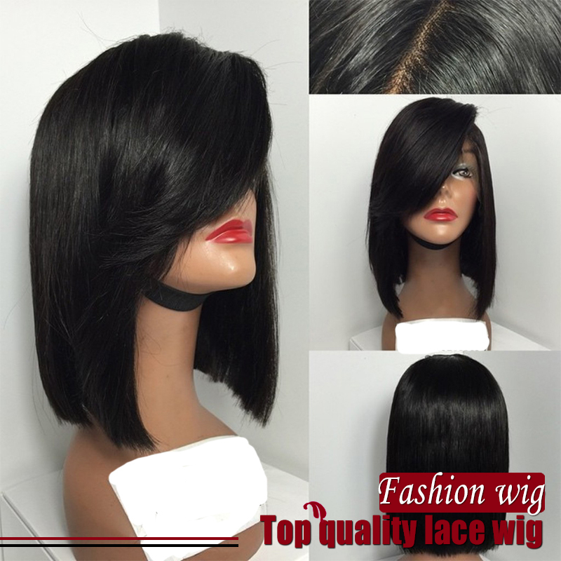 180 density hand woven Synthetic lace front wig Bob straight black color lace front wigs Bob