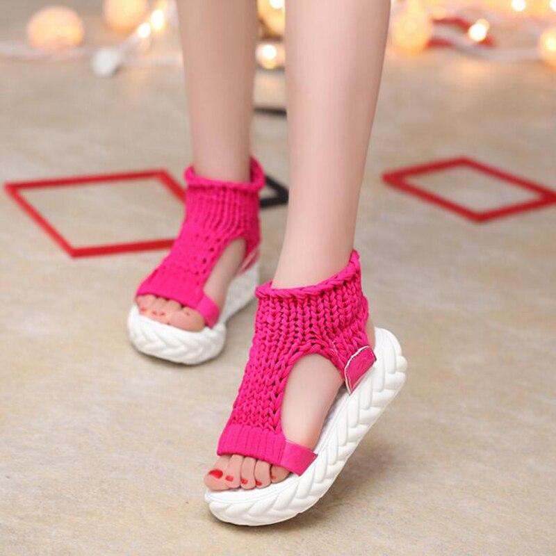 Summer Causal High Heels Sandals Women Knitting Wool Peep Toe Ladies Platform Shoes Solid Comfortable Wedge Sandals 1