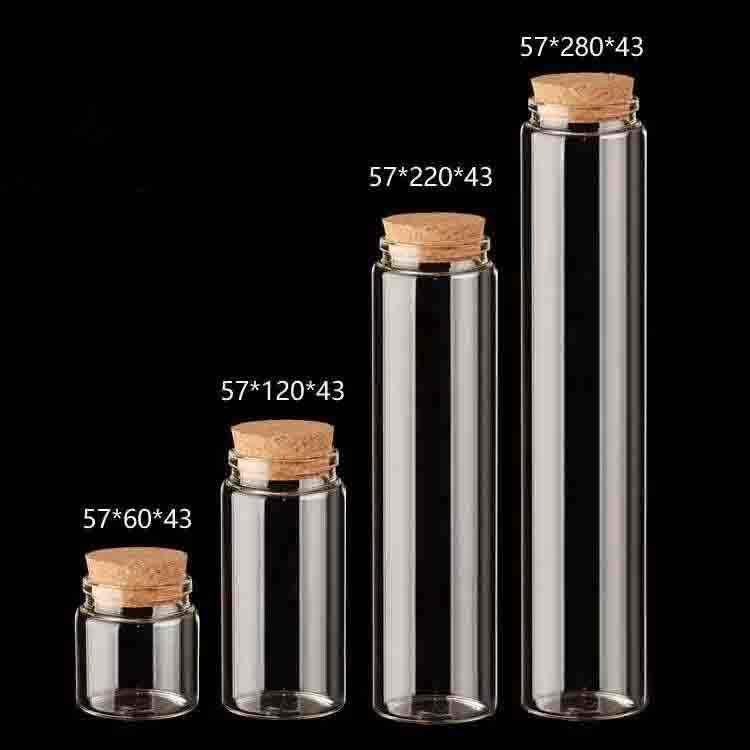 12 ชิ้น 57*220 มิลลิเมตร 400 มิลลิลิตรแก้วขวด Cork แก้วเปล่า pices magic อาหาร potion ขวดแก้ว vial บ้านวันหยุดงานแต่งงาน