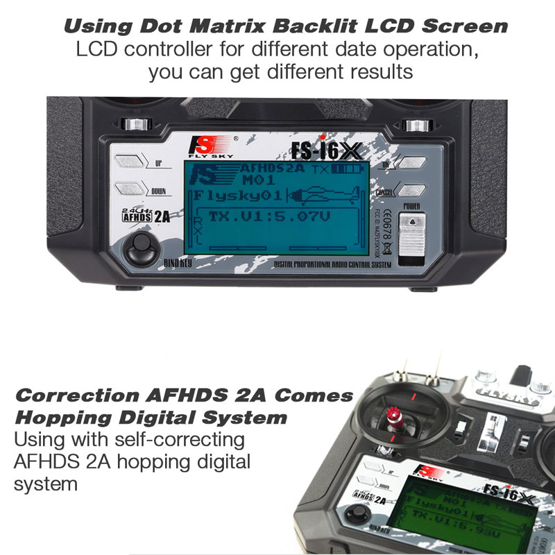 Flysky FS i6X FS I6X 2.4G RC Transmitter Controller 10/6CH iA10B หรือ iA6B ตัวรับสัญญาณ i6 อัพเกรดสำหรับ RC เฮลิคอปเตอร์ Multi rotor drone-ใน ชิ้นส่วนและอุปกรณ์เสริม จาก ของเล่นและงานอดิเรก บน   3