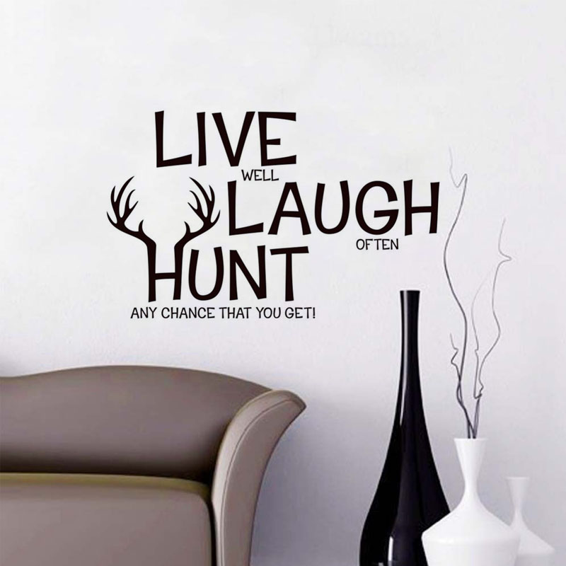Live Laugh Hunt Deer Quote Vinyl Wall Sticker Home Decor For Living Room Removable Lettering Murals Animal Sayings Decals