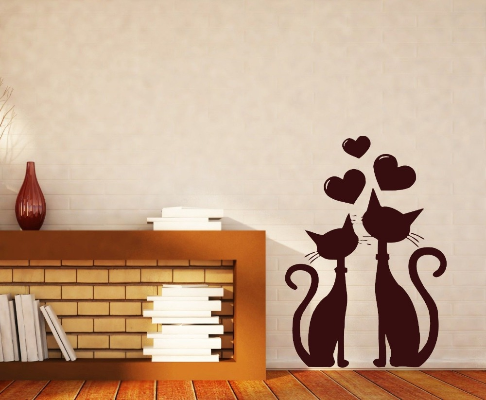 Removable wall sticker cat couple in love heart in march spring removable wall sticker cat couple in love heart in march spring vinyl wall decal 3d poster mural wallpaper vinilos paredes d933 in wall stickers from home amipublicfo Gallery