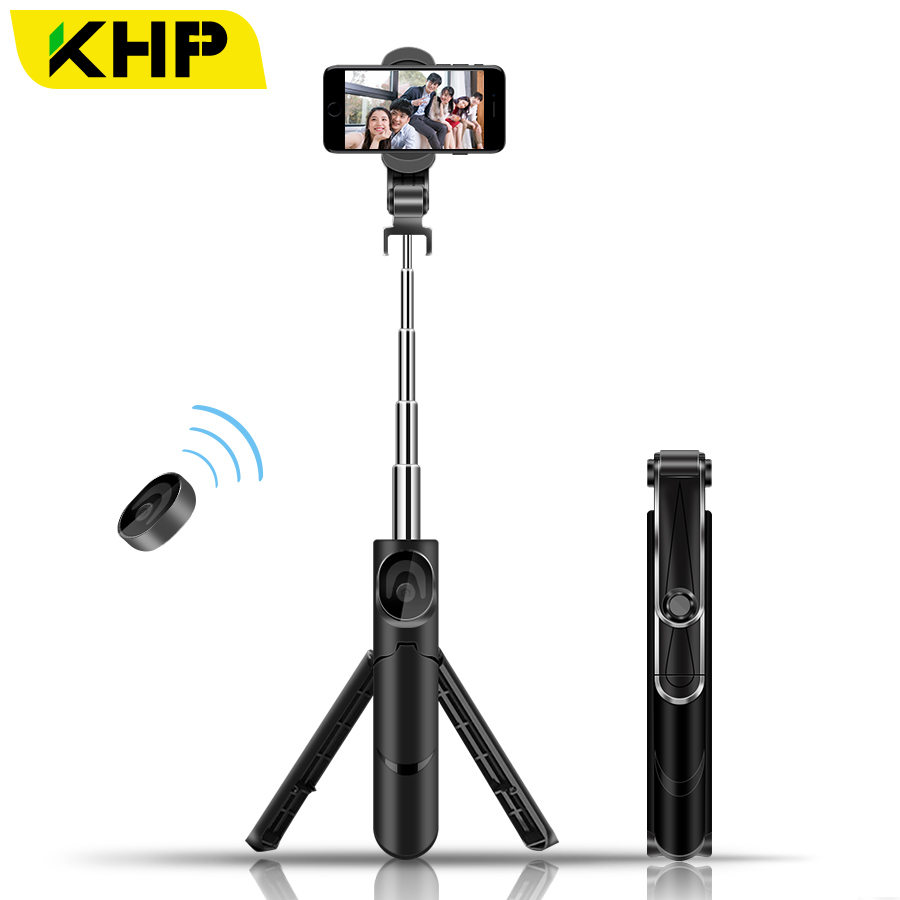 2018 KHP Portable Tripod Monopod Bluetooth Selfie Stick For iPhone Huawei Android Bluetooth Universal Smart Phone Selfie Stick 2018 khp mini selfie stick tripod wired silicone handle monopod universal selfie stick for iphone android xiaomi selfie sticks