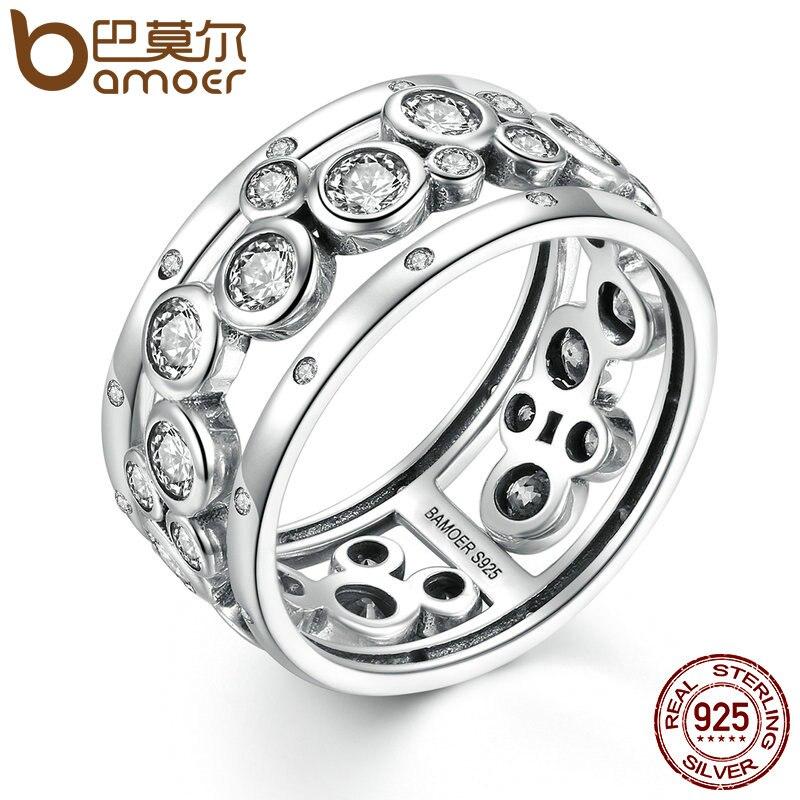 Prix pour Bamoer anneau de mariage réel 925 sterling argent classique ronde cercle grand doigt anneau femmes de mode diy bijoux scr008