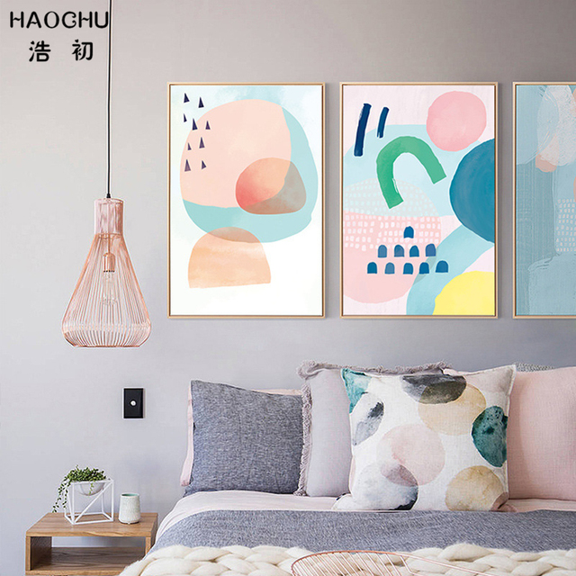 Haochu Modern Geometric Abstract Shape Mountain Wall Picture Pink Cloud Nursery Canvas Paintings Baby Room Home Decor No Frame