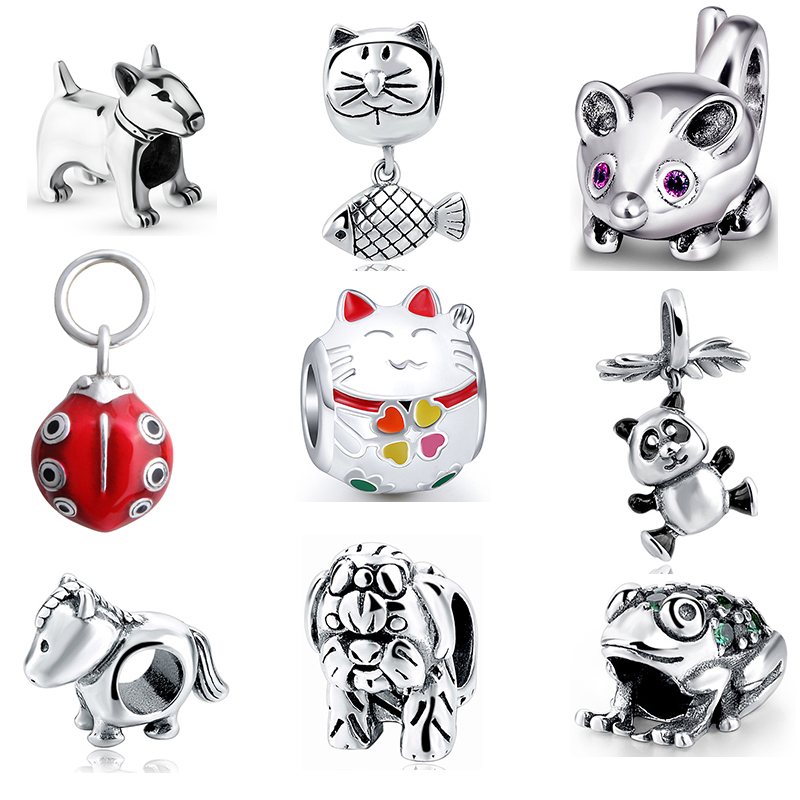 Fit Authentic pandora charms silver 925 original Antique animal collection dog cat mouse panda horse Bracelet Beads Gifts