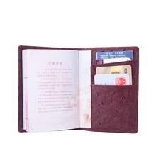 WESTCREEK Brand Ostrich Pattern Genuine Leather Passport Holder Card Thin Passport Cover Case Cowhide Wallet Organizer