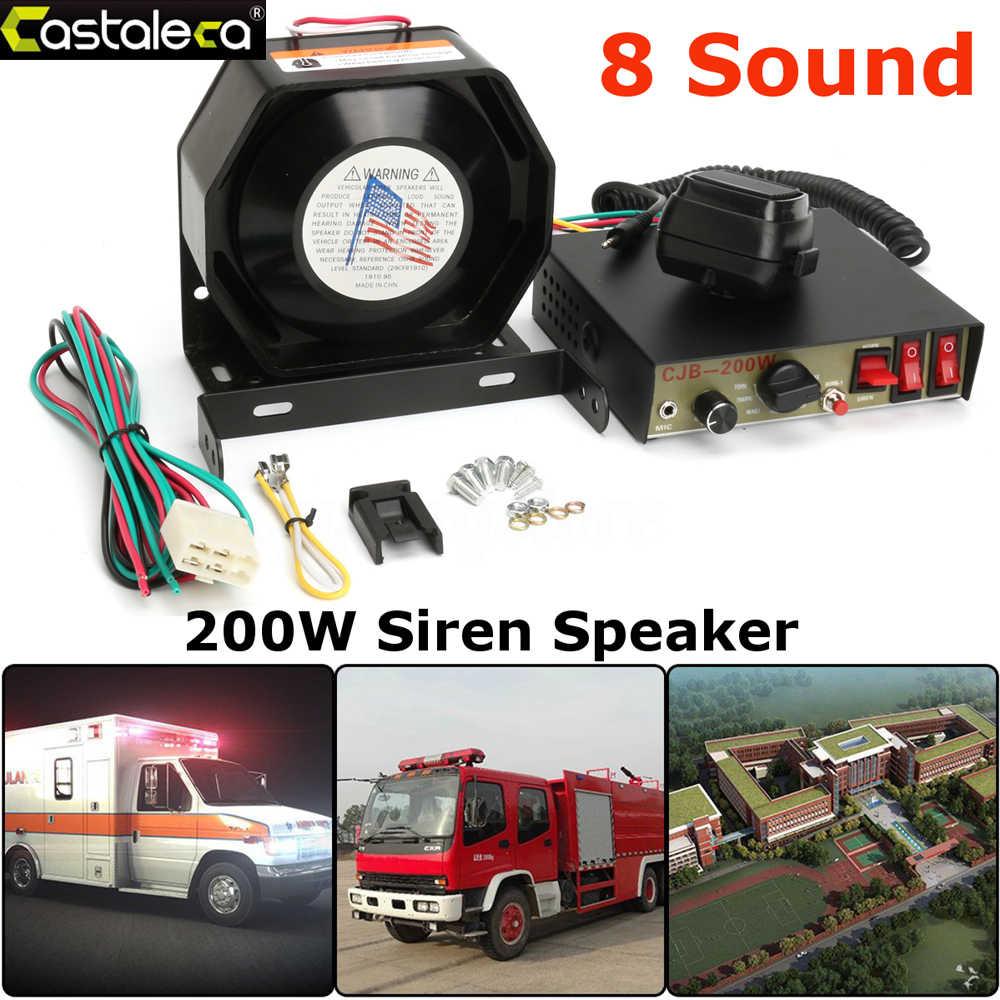 Larath автосигнализации усилитель сирены 200 Вт 8 звук Динамик полиции пожарной сирены Рог с PA MIC Системы модуль противоугонное устройство Черный