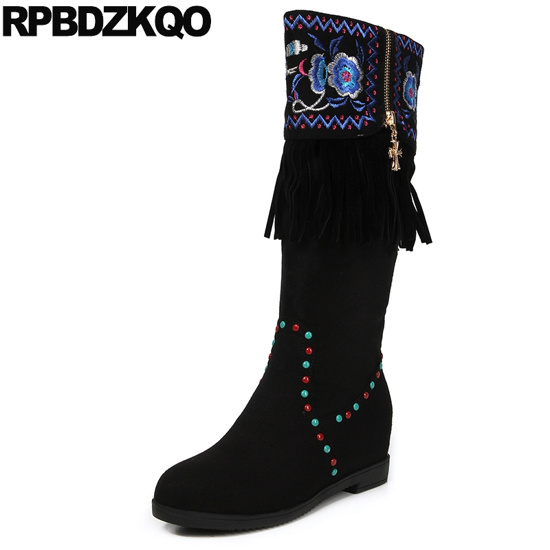 Flower Mid Calf Women Boots Winter 2017 Embroidery Black Shoes High Heel Embroidered Handmade Suede Tall Height Increased Fringe stylish women s mid calf boots with solid color and fringe design
