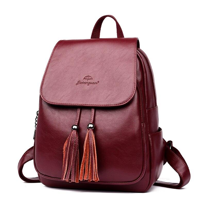 HTB1WC3gb.D.BuNjt ioq6AKEFXal Fashion2018 Women Backpacks Women's Leather Backpacks Female school backpack women Shoulder bags for teenage girls Travel Back
