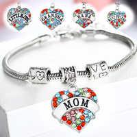 Love Heart Multicolor Crystal Aunt Grandma Mother Bracelet Charm Family Chain Beads Bracelet Women Men Best Friends Gifts