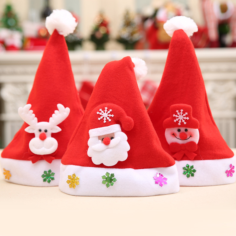 6fdce90bb479f Lovely Christmas Caps Christmas Decor Children Hat Santa Claus Snowman Elk Mini  Santa Hat  252379