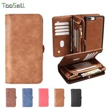 #007 Original Retro 2 in 1 Zipper Purse Pouch Phone Cases Leather Phone Case For iPhone 6s 6 4.7 For iPhone 7 7 plus Cases