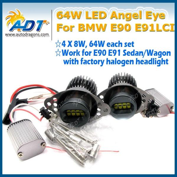 High Power 64W No OCB error car LED Headlight Marker for BMW E90LCI E91LCI Canbus LED Cr Angel Eye Halo Light