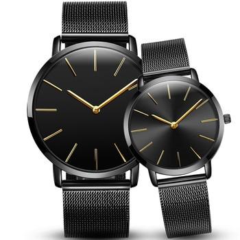 1 Pair Quartz Watch Couple Stylish Glass Steel Band Mesh belt Military Quartz Men Watch Clock Wristwatch Relogio Masculino 1