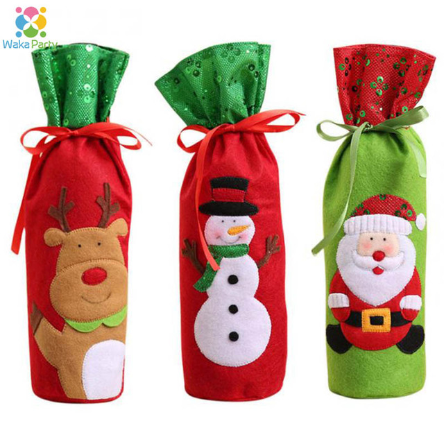 Christmas Wine Bottle Knitted Ugly Sweater Covers Santa Claus ...