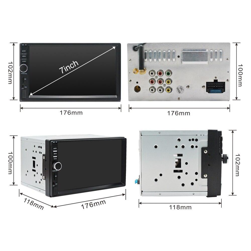 2Din voiture stéréo GPS 2G + 32G voiture lecteur multimédia Android Bluetooth musique Audio vidéo WiFi 7 pouces écran tactile SD USB ISO cam mic - 2
