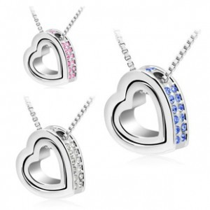 Wholesale Austria Crystal Rhinestones charms <font><b>heart</b></font> necklace personalized jewelry Eternal Love <font><b>Honey</b></font> <font><b>For</b></font> WomenCasual and Fashion