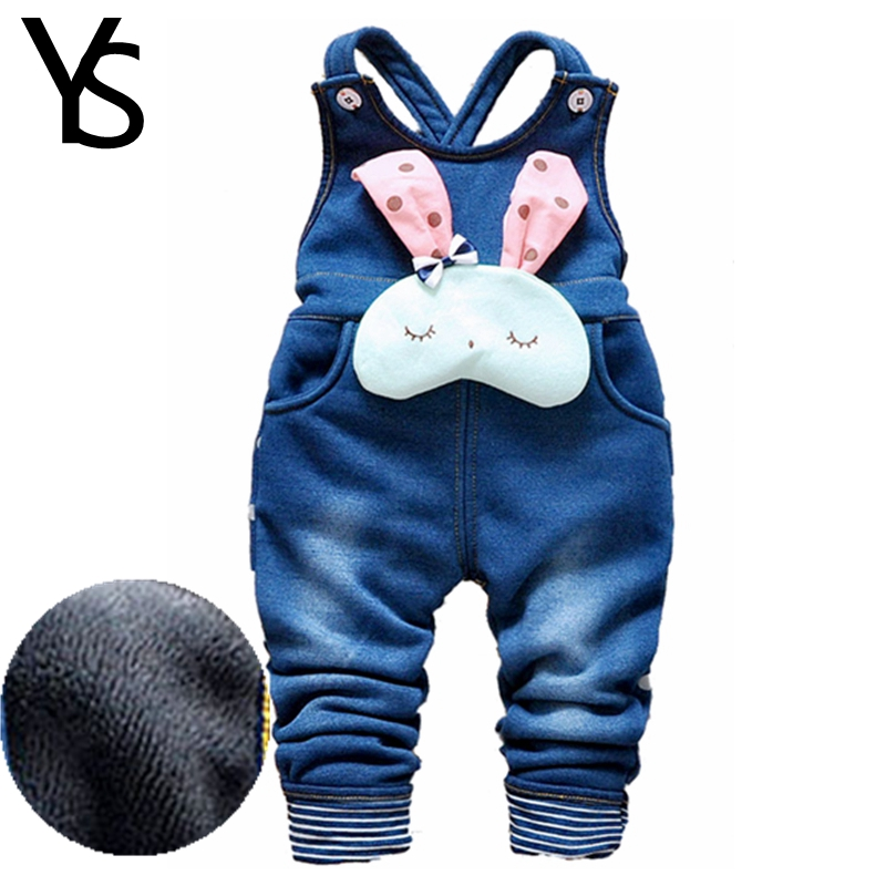 12M-4Years Baby Winter Overalls Fake Jeans Girls Warm Plus Velvet Overalls Toddler Winter Warm Pants Baby Clothes