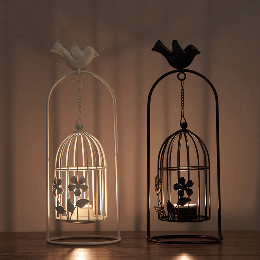 Creative Hollow Bird Cage Candle Holder Lotus Iron Black Candle Stand Lantern Wedding Decorations Vintage Candlesticks 50ch039