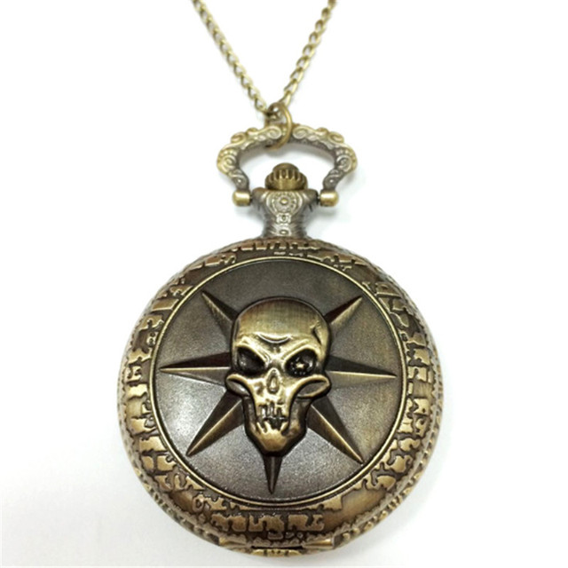 Vintage One Piece Pirate Skull Pocket Watch Top Quality
