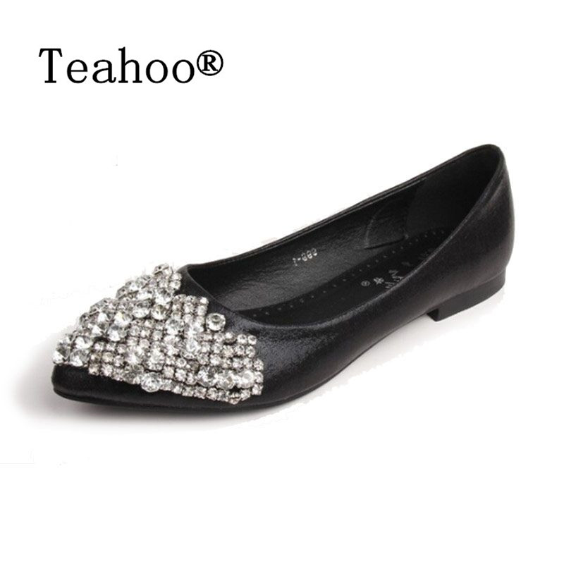 NEW Fashion 2017 Flats Shoes Women Ballet Princess Shoes For Casual Crystal Boat Shoes Rhinestone Women Flats PLUS Size New fashion pointed toe women shoes solid patent pu brand shoes women flats summer style ballet princess shoes for casual crystal
