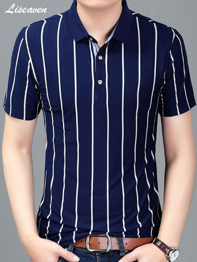 Liseaven Brand Clothing Men   Polo   Shirt Men Business Shirt Casual Striped Male   Polo   Shirt Short Sleeve Clothing Men's