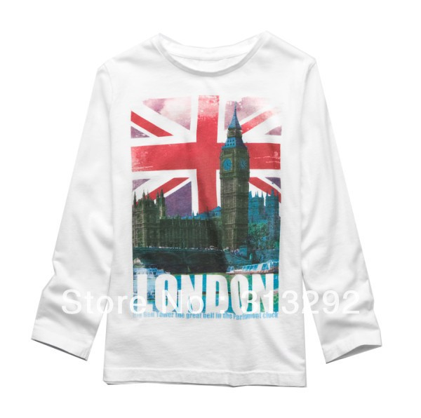 T-Shirts Long-Sleeve Baby Children Top Cotton for 1-6 Year. BJT166 Tees London High-Quality