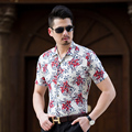 2017 New Arrival Summer Mens Fashion Floral Shirts Short Sleeve Flowers Summer Shirt for Man