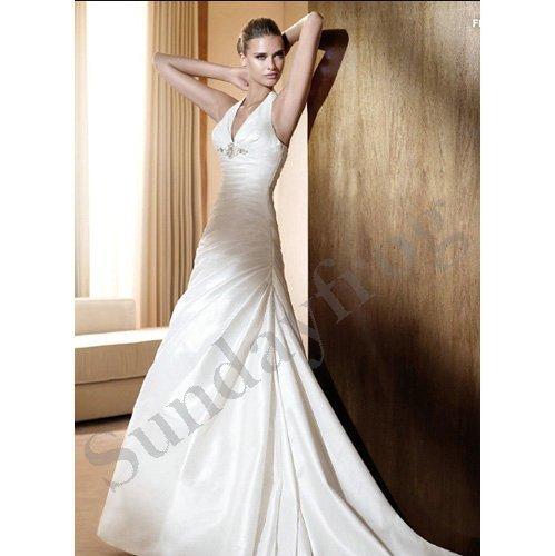 Freeshipping Custom Made Halter A-Line Taffeta Plunging Neckline Beaded Asymmetrical Wedding Dresses Bridal Gowns -LS117