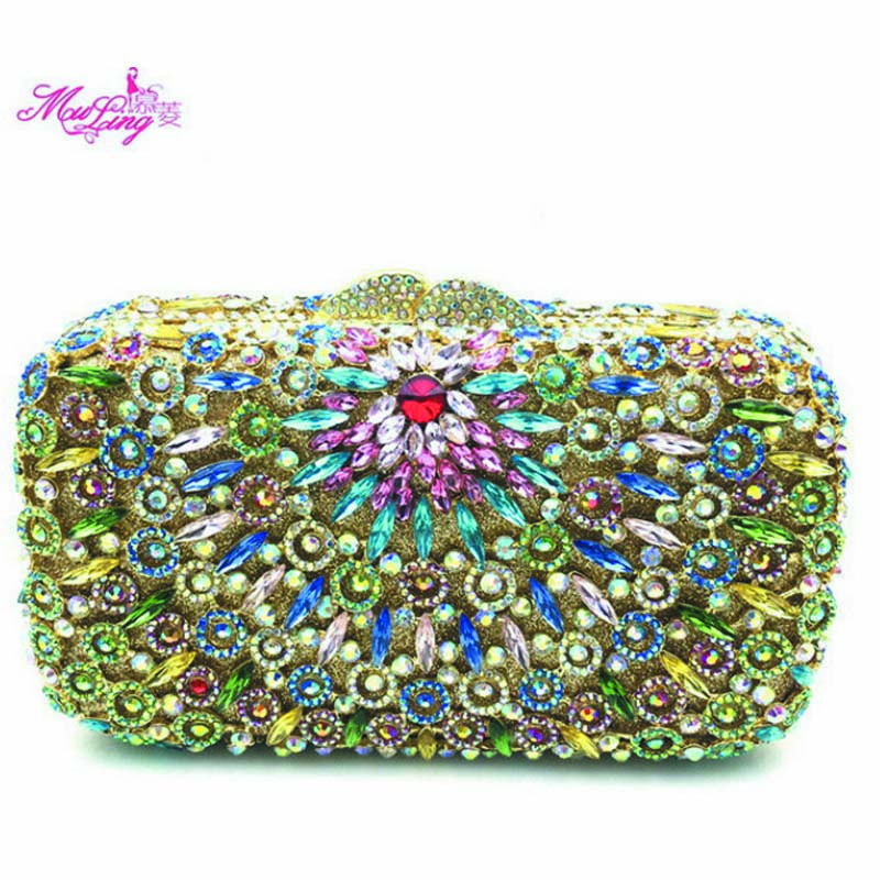 Boutique Handbag Stickers Package Banquet Package Evening Crystal Women Wallet Square Yellow Flower  Dames Tassen Ladies Bag New luxury crystal clutch handbag women evening bag wedding party purses banquet