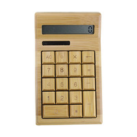 Artis Large Chunky Natural Handmade Crafted Bamboo Solar Power Calculator 12 Digits Display QJY99