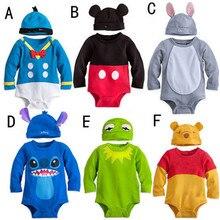 Новинка, детские комбинезоны с героями мультфильмов, 6 цветов, Одежда для новорожденных комбинезоны+ шапочка, комплект из 2 предметов, комбинезон для малышей