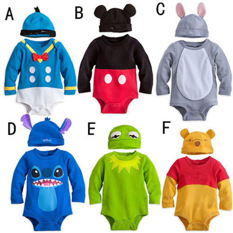 New Arrival Baby Rompers Character Cartoon 6 Colours New Born Infant Baby Clothing Jumpsuits+ Hat 2piece Per Set Toddler Overall