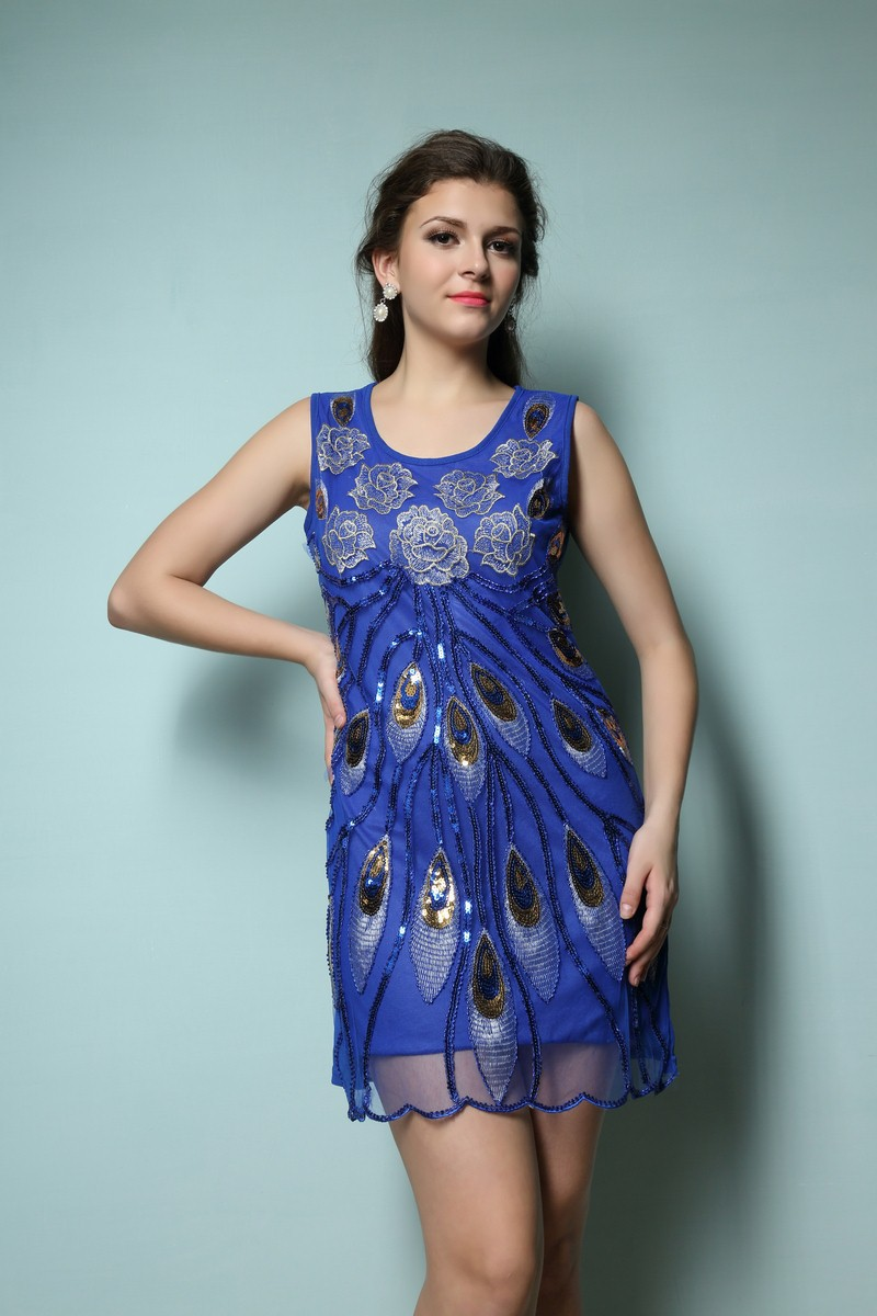 1920s gatsby party vintage o neck tank embroidery dress elegant ... f7d97029f8ef