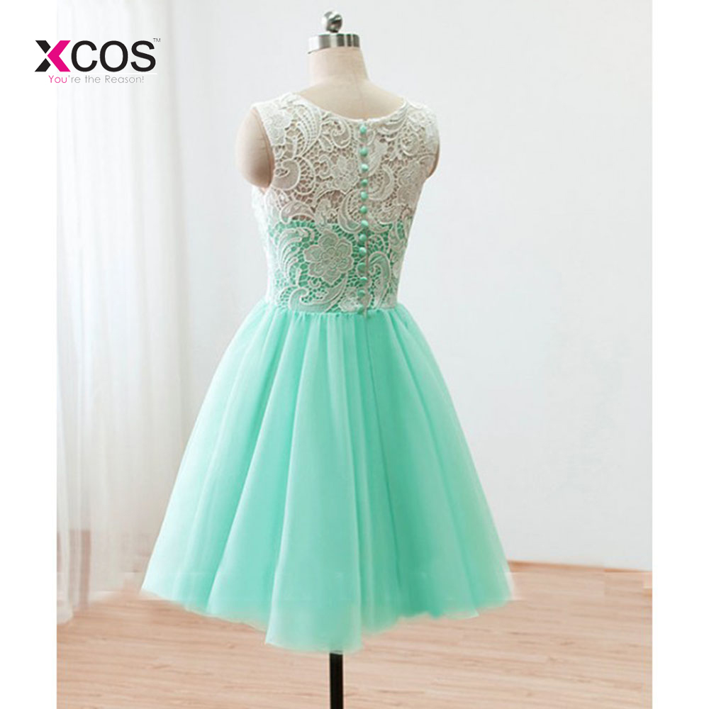 Cute Mint Green Lace Tulle Back Buttons Knee Length Prom Dresses ...