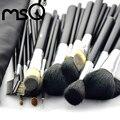 Profesional 32 unids pinceles de maquillaje y pelo suave de alta calidad con pu correa de cuero de caso de moda belleza msq marca