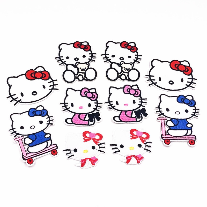 Hello Kitty Flower Patch Embroidered Iron Sew On Patch Dress Costume badge