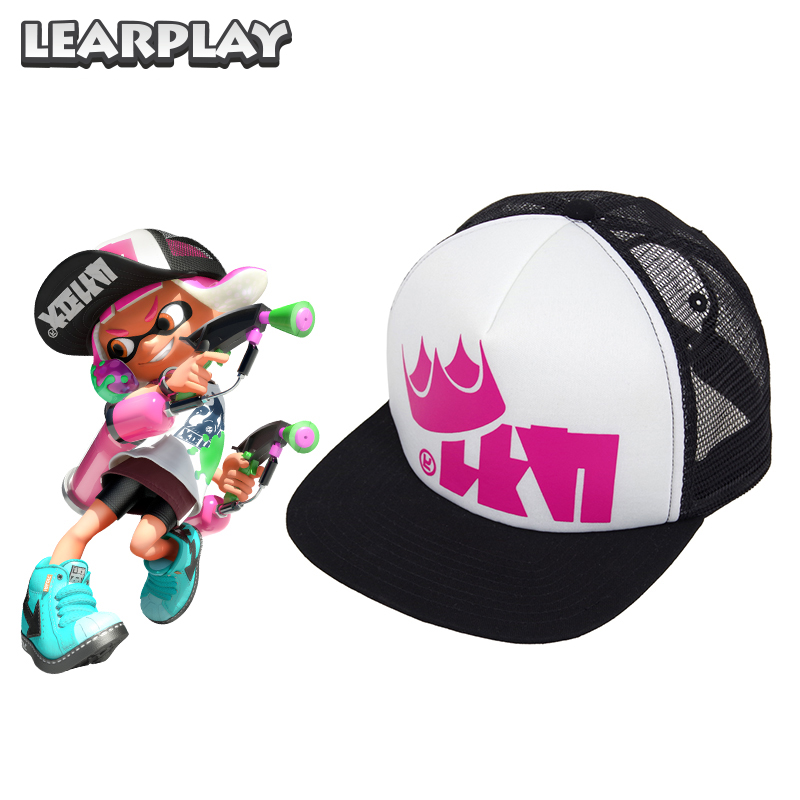 28aebfad45b Splatoon 2 Splatfest King Flip Mesh Caps Adjustable Baseball Cap Trucker Hat  Christmas Party Costume Accessories For Adults Kids
