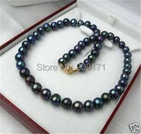 Free Shipping 8 9mm Black Tahitian Cultured Pearl Necklace 14K Solid Gold