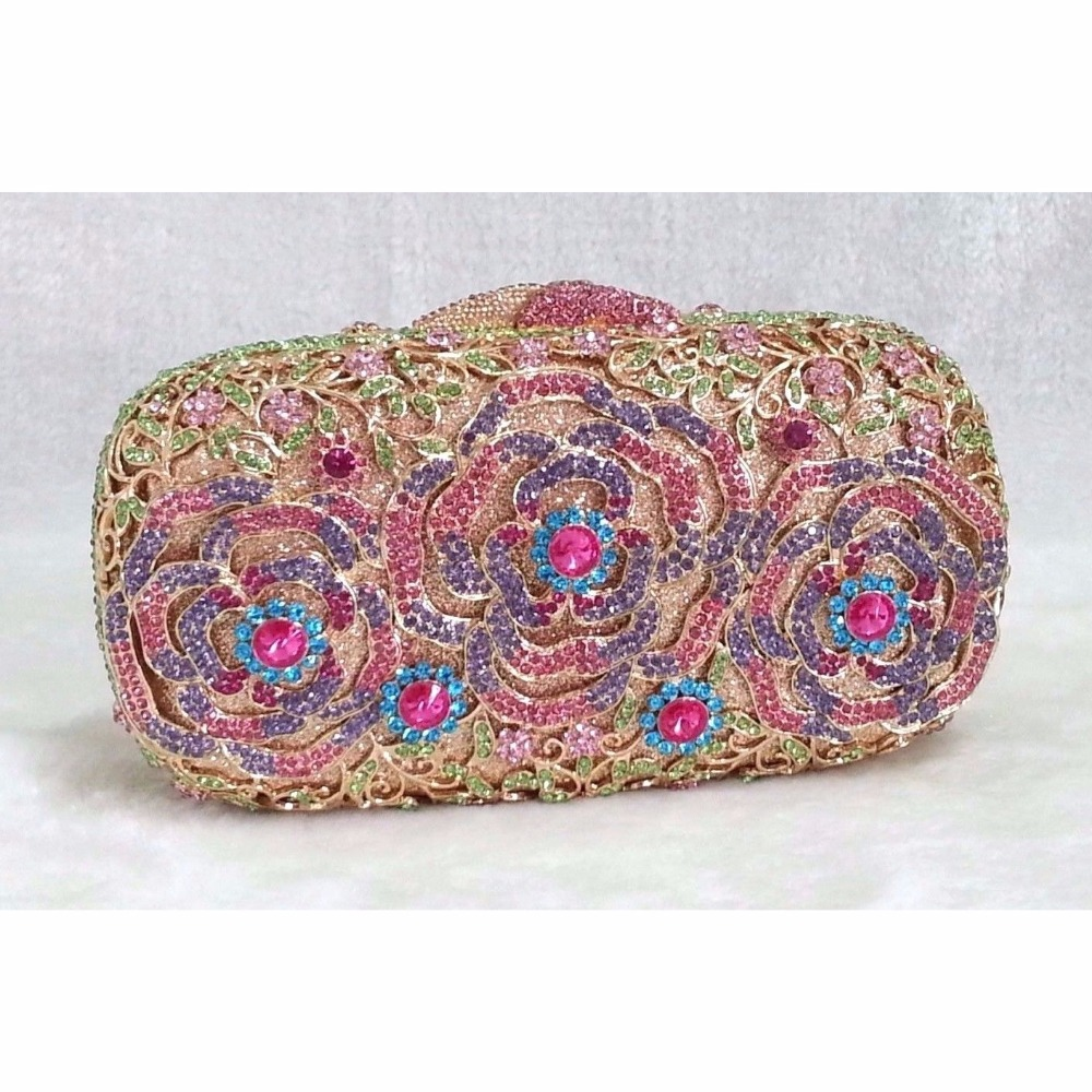 ФОТО 8213A Multi-color Crystal Floral Flower Lily Wedding Bridal Party Night hollow Metal Evening purse clutch bag box handbag case