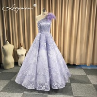 Lilac One Shoulder Lace Ball Gown 2018 Floor Length Evening Dresses Sleeveless Lavender Feathers Party Dress robes de soiree